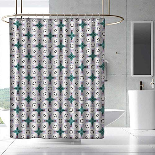 Fakgod Modern Shower Curtain with Hooks Abstract Composition of Geometrical Shapes in Pastel Colors Contemporary Design Bathroom Decoration W108 x L72 Multicolor by Fakgod (Image #5)