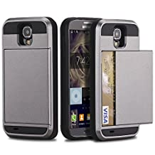 Galaxy S4 Wallet Case, Galaxy S4 Wallet Cover, Dual Layer Protection Hybrid Armor Case Hard Shell Slide Cover with Card Holder for Samsung Galaxy S4 I9500 (Gray)