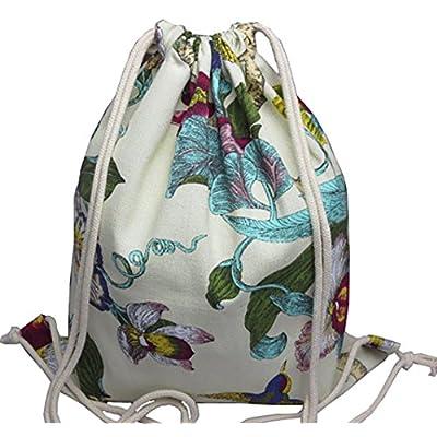 f4f8d72da2f6 VigourTrader Unisex Pattern Print Drawstring Backpack Canvas Gym ...