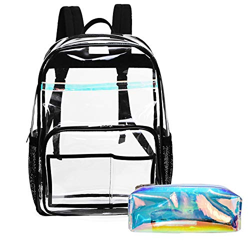 Clear Transparent Backpack, MIXI Heavy Duty PVC School Backpack Multi-pockets Bookbag for Students Transparent Backpack for Daily Trip with Colour Pencil Bag