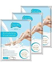 Foot Peel Mask 3 pares, repare el talón áspero y elimine la piel muerta y las callosidades, mascarilla exfoliante natural para spa para pieles secas, hombres y mujeres (Leche)