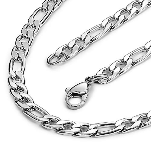 Price comparison product image Evevil 5mm Mens Chain Necklace Color Silver Chain for Men Stainless Steel Figaro Chain Necklace (18 inches)