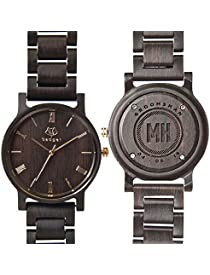 Swanky Badger Personalized Groomsman Gift, Engraved Real Wooden Watch is The Perfect Wedding Gift for Your Best Man & Wedding Party, Ebony, Links