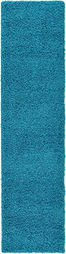 Unique Loom Solid Shag Collection Turquoise 3 x 10 Runner Area Rug (2' 6