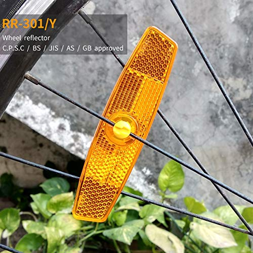 BSK Amber Bicycle Wheel Spoke Night Safety Warning Reflectors, 2 - Bicycle Amber