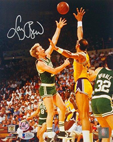 Larry Bird Signed Boston Celtics 8x10 Layup vs Kareem Photo Beckett+Bird Holo