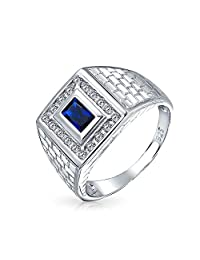Geometric Rectangle 2CT Royal Blue Emerald Cut AAA CZ Bezel Halo Mens Engagement Ring Simulated Sapphire Band For Men
