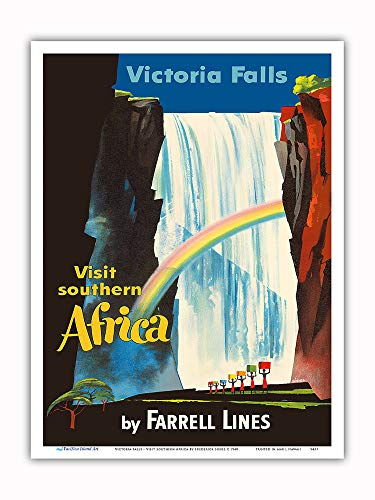 (Pacifica Island Art - Victoria Falls - Visit Southern Africa - Farrell Lines - Vintage Ocean Liner Travel Poster by Frederick Siebel c.1948 - Master Art Print - 9in x 12in)