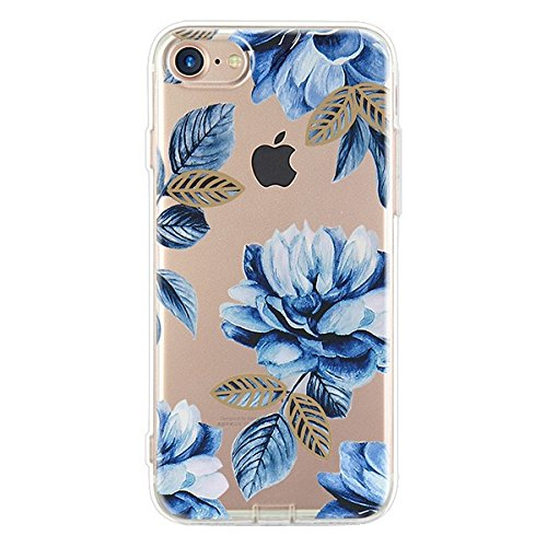 iPhone 7 Plus Case(5.5inch),Blingy's Beautiful Flower Pattern Series Transparent Soft Rubber TPU Clear Case for iPhone 7 Plus (Blue and White Flower) (Blue White Flower)