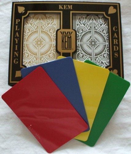 2 Free Cut Cards + KEM Arrow Black Gold Playing Cards Bridge Size Jumbo Index