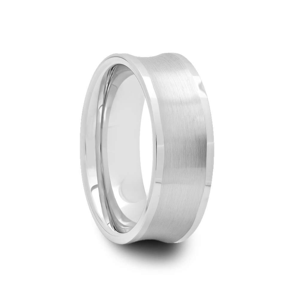 Mens Brushed Concave Center /& Polished Edges Tungsten Ring