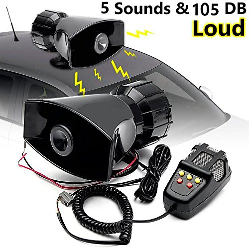 CHAMPLED 50W 12V Car Truck Alarm Police Fire Loud Speaker PA Siren Horn MIC System Kit for Ford Chrysler Chevy Chevrolet Dodge Cadillac Jeep GMC Pontiac Hummer Lincoln Buick