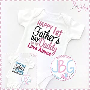Personalised 1st Father's day baby vest, Embroidered onsie clothing, baby gift