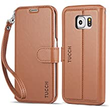 Galaxy S6 Edge Case, TUCCH S6 Edge Wallet Case, Premium PU Leather Flip Book Cover [Lifetime Warranty] with Detachable Wrist Strap, Stand, Card Slots and Magnetic Clasp - Brown