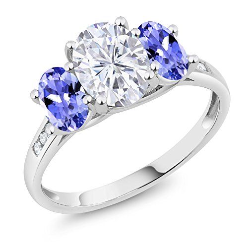 10K White Gold 3-Stone Ring Forever One (GHI) Oval 1.50ct (DEW) Created Moissanite by Charles & Colvard and Tanzanite (Size 9)