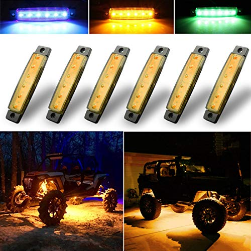 Botepon 6Pcs Led Rock Lights, Strip Lights, Wheel Well Lights, Led Underglow Kit for Golf Cart, Jeep Wrangler, RZR, Offroad, F150, F250, Snowmobile (Amber)