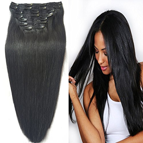"""Beauty : Clip in Real Hair Extensions Human Hair, Re4U Silky Soft Straight 20"""" 100grams 8 pieces Real Human Hair #1 Jet Black Clip in Extensions Real Remy Hair (20"""" 8pcs 3.5oz #1Jet Black)"""