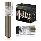 Outdoor Landscape Solar Lights by InSassy - LED Waterproof Pathway Stake Lighting for Patio Yard Garden Lawn Driveway Walkway Pool - Glass Stainless Steel – Warm / Color Changing - 8 Pack Contempo