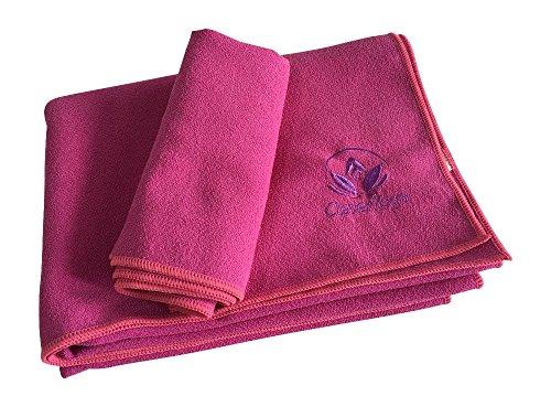 Clever Yoga Micro Fiber Towels - Yoga Mat Towel and Yoga Hand Towel Set Rose Pink