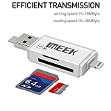[USB 3.0] IMEEK Card Reader with Lightning/Micro USB Connector for Camera Cellphones Computers