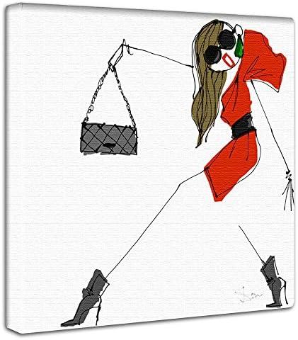 三浦大地 ファッション アートパネル 30cm × 30cm 日本製 ポスター おしゃれ インテリア 模様替え リビング 内装 ガール イラスト アート ファブリックパネル dai-0001