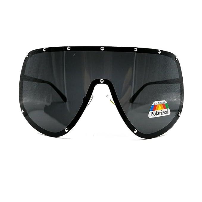 8b3165a7169 FUPRECIOUS Oversized Polarized Shield Sunglasses Mirrored Lens For Women Men  (black)