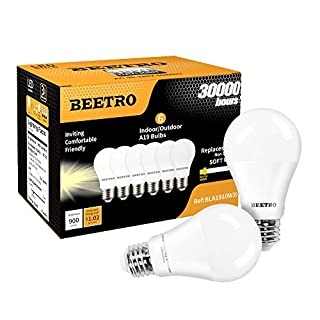 BEETRO Lighting A19 LED Bulbs, E26 Base, 70w Equivalent, 900 Lumens, Soft White 3000k Pack of 6pcs
