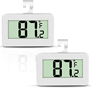 Mini Refrigerator Thermometer, Digital Fridge Freezer Temperature Monitor with Hook & Large LCD Display for Indoor/Outdoor (White)