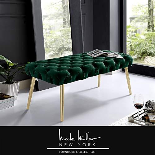 Nicole Miller Claude Bench - Button Tufted | Velvet Upholstery | Tapered Metal Legs | Hunter Green/Gold ()