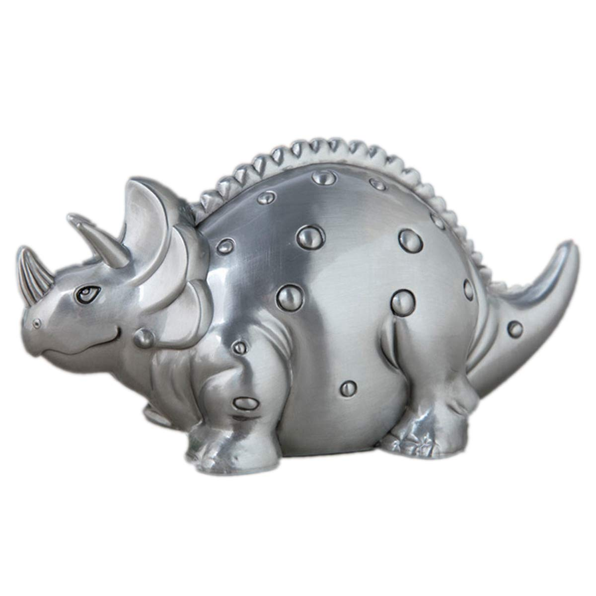 TYML Metal Piggy Bank with Cute Triceratops Dinosaur for Kids Boys Adult,Mini Silver Dollars Coin Money Saving Bank Ideas Fun Toys,Tincolor by TYML