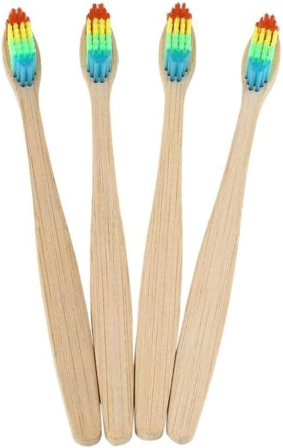 Fish 10 Pcs Colorful Head Bamboo Toothbrush Wholesale