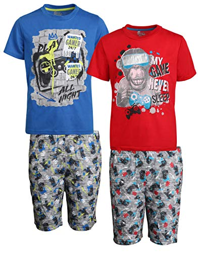 Sleep On It Boys 4-Piece T-Shirt and Shorts Pajama Set (2 Full Sets), Blue/Red, Size Small - 6/7']()