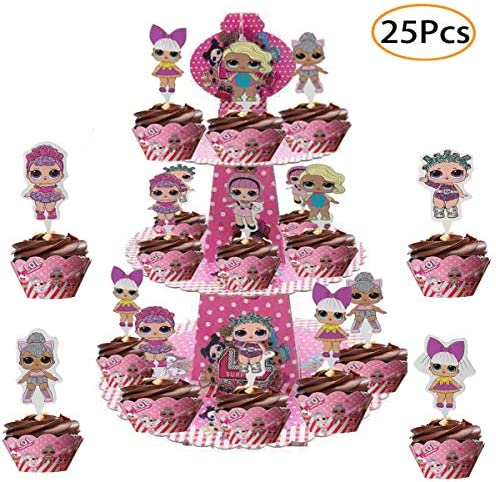 25 Pcs L-O-L Dolls Cake Toppers & Party Cake Stand,Decorations for 1st Birthday Theme Party L-O-L Pink Cake Decorations for Baby Theme Party (JL04)