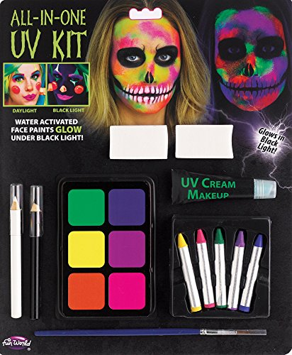 Fun World All-in-One Water Activated UV Halloween 12pc Makeup Kit, 0.21