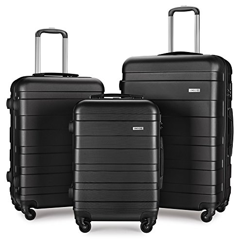 Luggage Set Spinner Hard Shell Suitcase Lightweight Carry On - 3 Piece (20'' 24'' 28'') (Black4) by LEMOONE
