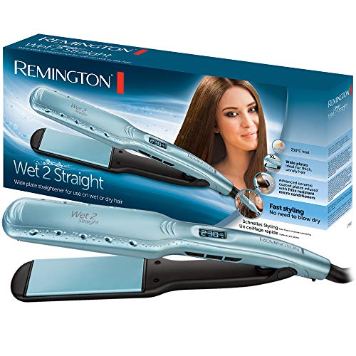 Remington Wet 2 Straight S7350 - Plancha de Pelo, Ceramica, Digital, para el Cabello Seco y Humedo, Resultados Profesionales, Azul