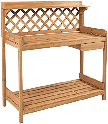 Wood Tinted Brown Potting table Shelving 2 Animal Stack Hooks Outdoor Garden New