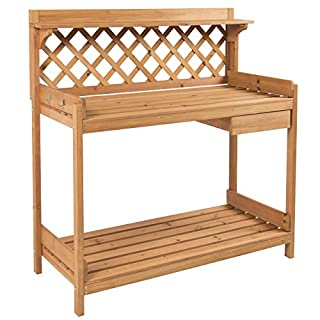 Best Choice Products Outdoor Wooden Garden Potting Bench Work Station Table w/Cabinet Drawer and Open Shelf, Natural