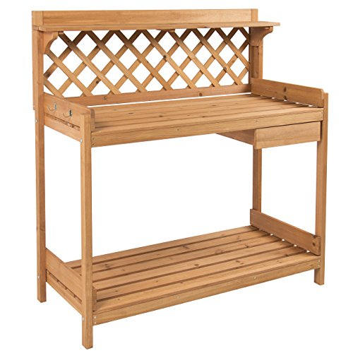 - Best Choice Products Outdoor Wooden Garden Potting Bench Work Station Table w/ Cabinet Drawer, Open Shelf, Natural Wood Finish