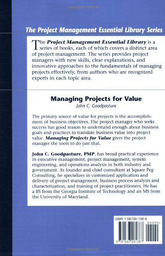 Amazon managing projects for value project management amazon managing projects for value project management essential library 9781567261387 john c goodpasture books thecheapjerseys Gallery