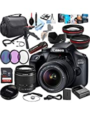 Canon EOS 4000D DSLR Camera with 18-55mm f/3.5-5.6 Zoom Lens + 64GB Card,Filters, Case, and More (32pc Bundle)