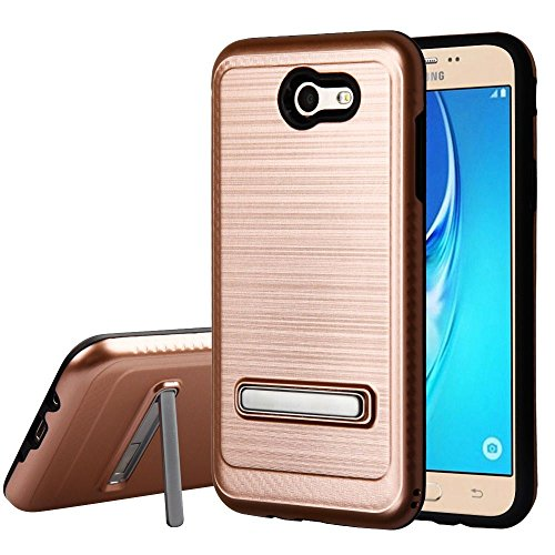 Price comparison product image Galaxy J7 (2017) Case, Mybat Carbon Fiber Accent Dual Layer Protection Hybrid Stand Brushed PC/TPU Rubber Case Cover For Samsung Galaxy Halo/J7 (2017)/J7 Perx/J7 Prime/J7 Sky Pro/J7 V, Rose Gold/Black