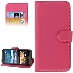 Texture lichis PU Funda Flip Cover con Holder Case & Slots & Card Wallet para HTC One M9 () Magenta