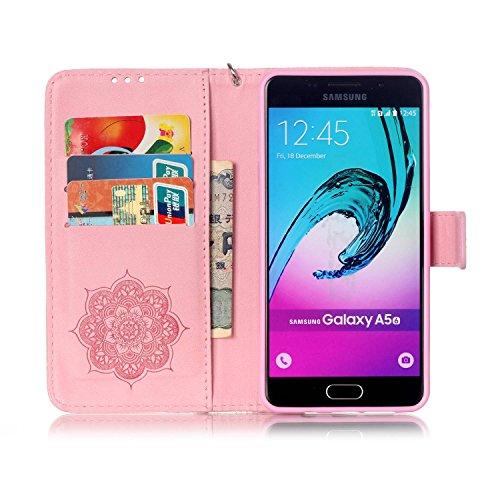 JIALUN-Personality teléfono shell Funda Samsung Galaxy A510, cubierta de la caja del soporte del tirón del cuero de la PU con la muñeca de la mano y ranuras para tarjeta de efectivo / soporte para Sam Rose