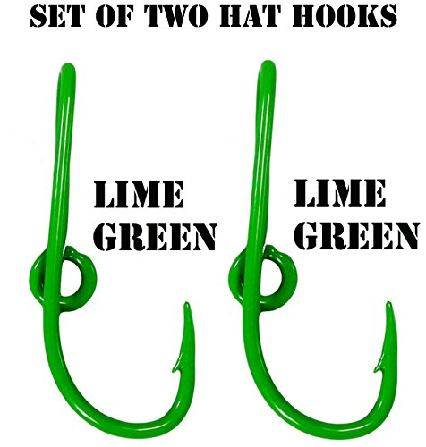 (BT Outdoors Custom Colored Eagle Claw Lime Green Hat Fish Hooks for Cap (Set of Two Hat Hook pins) Two Lime Green Hat Hook Clip)