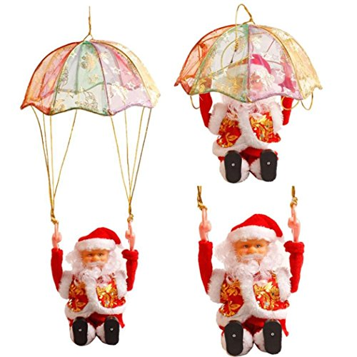 Baomabao 1PC Christmas Santa Claus Electric Tumbling Parachute Plush Toy Hanging Decoration