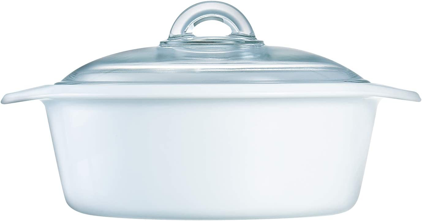 Luminarc N1612 Vitro Blooming Round Ceramic Casserole Dish with Lid, 1.5 Quart, White