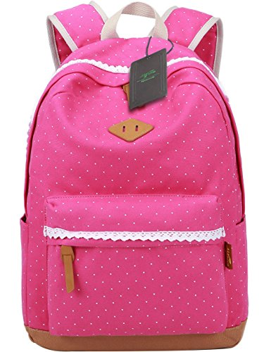 Mygreen Canvas Dot Backpack Cute Lightweight Teen Girls Backpacks School Shoulder Bags Floral Rose - Dot Girl Large