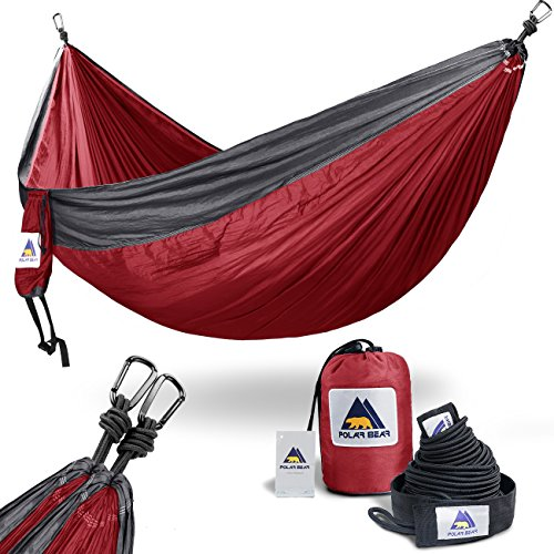 USA PolarBear Portable Lightweight Single & Double Camping Hammocks 120 (L) x 80(W) for Backpacking, Travel, Beach, Hiking, Yard Contain 2 x Tree Straps (120 L) & 2 x Carabiners for Easy Setup