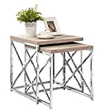 Natural Reclaimed-Look/Chrome Metal 2 Piece Nesting Table Set